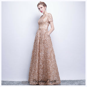 The Rikka Gold Short Sleeve Gown - WeddingConfetti