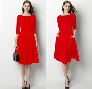 The Karen Black / Red Mid Sleeves Short Dress - WeddingConfetti