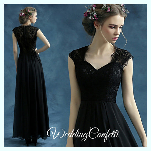 *Brand New* Wedding Bridal Black Cap Sleeve Dress Gown