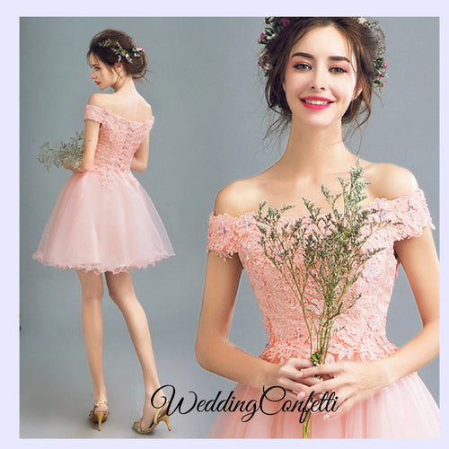 *Brand New* Wedding Bridal Pink Off Shoulder Lace Embroidery Dress / Gown