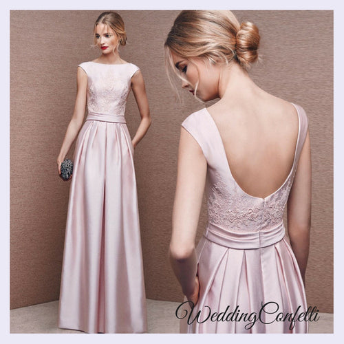 The Pandora Wedding Bridal Pink Embroidered Lace Gown