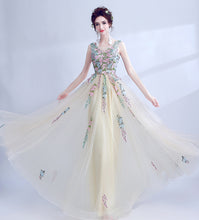 Load image into Gallery viewer, The Renee ellow Sleeveless Embroidered Lace Gown - WeddingConfetti