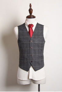 Leonardo Groom Men's Checkered Brown Grey Suit Jacket, Vest and Pants (3 Piece) - WeddingConfetti