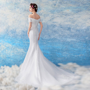 The Carena Wedding Bridal White Tulle Lace Gown - WeddingConfetti