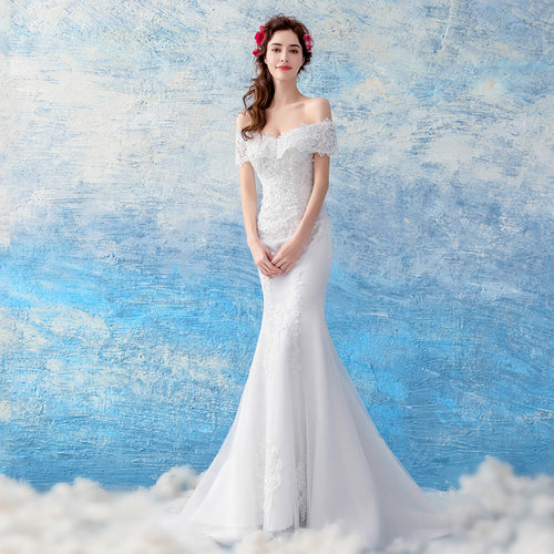 The Carena Wedding Bridal White Tulle Lace Gown