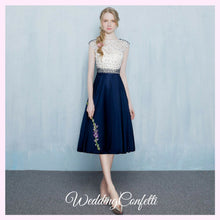 Load image into Gallery viewer, The Tabitha White Navy Blue Dress (Available in Different Lengths) - WeddingConfetti