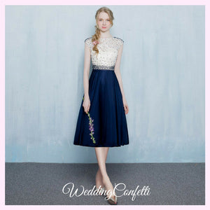 The Tabitha White Navy Blue Dress - WeddingConfetti