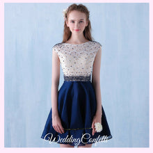 Load image into Gallery viewer, The Tabitha White Navy Blue Dress - WeddingConfetti