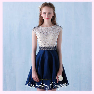 The Tabitha White Navy Blue Dress (Available in Different Lengths) - WeddingConfetti