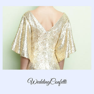 The Valentina Gold Sequins Long Sleeves Gown - WeddingConfetti