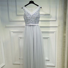 Load image into Gallery viewer, The Aurora Grey & Champagne Glitter Evening Gown - WeddingConfetti
