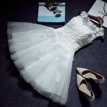 Load image into Gallery viewer, The Teselly  White Sleeveless Short Tulle Dress - WeddingConfetti