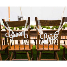 Load image into Gallery viewer, Wedding Decor -  Wedding Bride & Groom Chair Sign / Photography Prop - WeddingConfetti