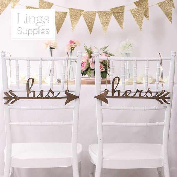 Wedding Decor - Her & His Chair Sign / Photography Prop - WeddingConfetti