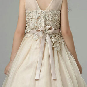 The Olivia Champagne Flower Girl Dress - WeddingConfetti