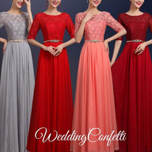 Load image into Gallery viewer, The Rosetta Black / Grey / Red / Coral / Green Lace Sleeves Evening Gown - WeddingConfetti