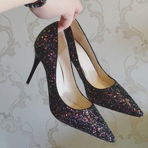 The Kosta Wedding Bridal Glitter Black / Pink / Gold Heels - WeddingConfetti