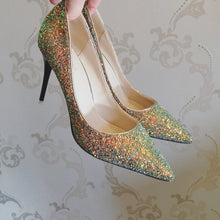 Load image into Gallery viewer, Wedding Bridal Glitter Black / Pink / Gold Heels - WeddingConfetti