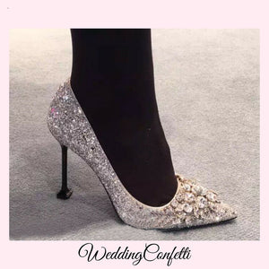 Wedding Bridal Gold / Silver Wedding Heels - WeddingConfetti