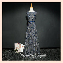 Load image into Gallery viewer, The Riselle Gold/Blue/Red Sleeveless A Line Gown - WeddingConfetti