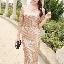 Load image into Gallery viewer, The Giovana Gold Long Sleeves Lace Evening Gown