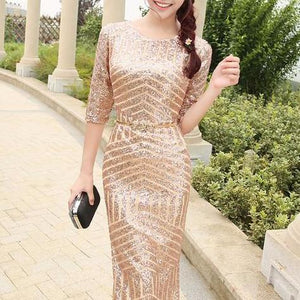 The Giovana Gold Long Sleeves Lace Evening Gown