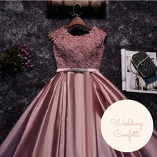 Load image into Gallery viewer, The Patrina Cap Sleeves Gold / Grey / Blue / Purple / Red / Pink Lace Gown Dress - WeddingConfetti