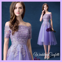 Load image into Gallery viewer, The Lerraine Purple Off Shoulder Lace Embroidery Dress - WeddingConfetti