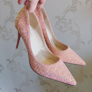 Wedding Bridal Glitter Black / Pink / Gold Heels - WeddingConfetti