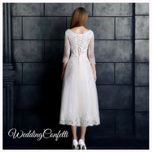 Load image into Gallery viewer, The Berenda Boat Neck Lace Sleeves Dress - WeddingConfetti