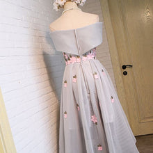 Load image into Gallery viewer, The Pentulia Tulle Off Shoulder Grey / White / Black Floral Gown - WeddingConfetti