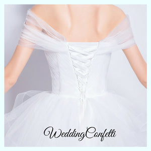 The Roselle Wedding Bridal Off Shoulder Gown - WeddingConfetti