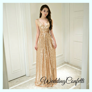 The Erinsa Gold Sleeveless Evening Gown - WeddingConfetti