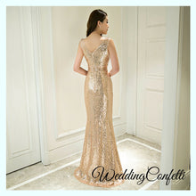 Load image into Gallery viewer, The Erinsa Gold Sleeveless Evening Gown - WeddingConfetti