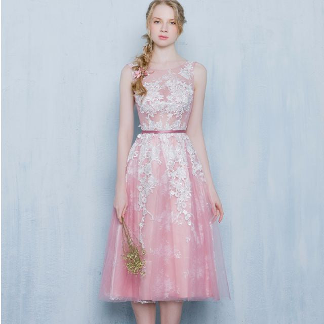 The Selena Pink / Grey / Beige Tulle Dress