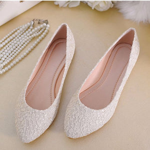 Wedding Bridal White / Beige / Red Wedding Flats