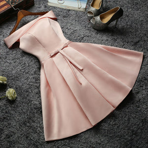 The Charlize White / Beige / Pink Off Shoulder Satin Dress - WeddingConfetti