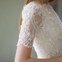 Load image into Gallery viewer, The Brittany Wedding Bridal Lace Short Sleeve Off Shoulder Dress - WeddingConfetti