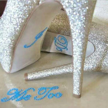 Load image into Gallery viewer, I Do and Me Too Wedding Shoes Stilettos Glitter Stickers - WeddingConfetti