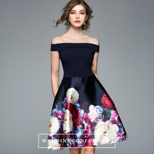 Load image into Gallery viewer, The Athena Floral Off Shoulder Dress - WeddingConfetti