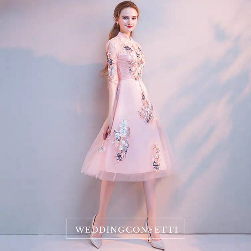 The Erista Pink Cheongsam Cocktail Gown - WeddingConfetti