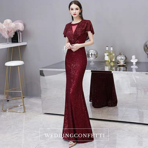 The Lorniston Sequined Red Gown - WeddingConfetti