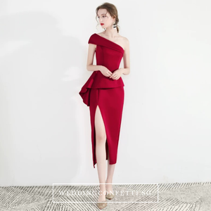 The Charis One Shoulder Origami Red / White Dress With Slit - WeddingConfetti