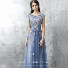 Load image into Gallery viewer, The Christina Blue Lace Cap Sleeves Dress - WeddingConfetti