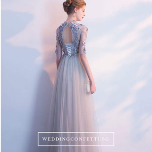 The Sarah Grey Long Sleeves Lace Gown - WeddingConfetti