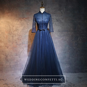 The Dacia Blue Long Sleeves Gown - WeddingConfetti