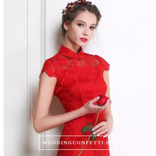 The Elidia Red Oriental Lace Mandarin Collar Qipao Dress - WeddingConfetti