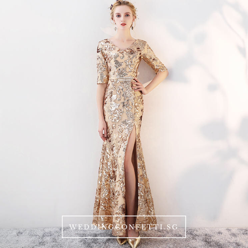 The Carina Champagne / Gold Glitter Long Sleeves Fishtail Gown - WeddingConfetti