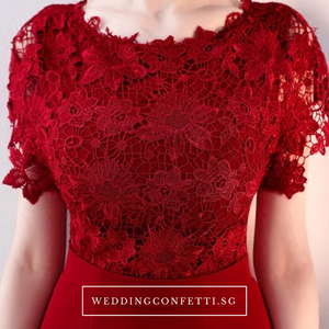 The Melinda Black / Red / Wine Red Lace Gown - WeddingConfetti