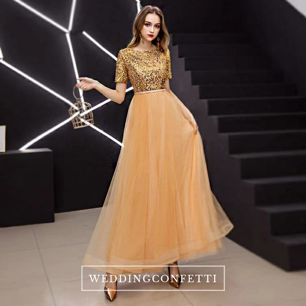 The Gideon Short Sleeve Gold/Silver/Black Sequined Gown - WeddingConfetti